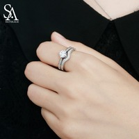 SA SILVERAGE 925 Sterling Silver Double Wedding Bridal Rings Sets For Women Fine Jewelry Gemstones Silver
