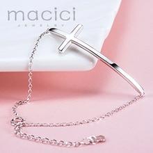 100% г. однотонные 925 стерлингового серебра боком крест браслет персонализированные выгравированы Хорошее польский женский Роло браслет-цепочка (H0003)