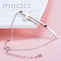 100 Solid 925 Sterling Silver Sideways Cross Charm Bracelet Personalized Engraved Good Polish Female Rolo Chain