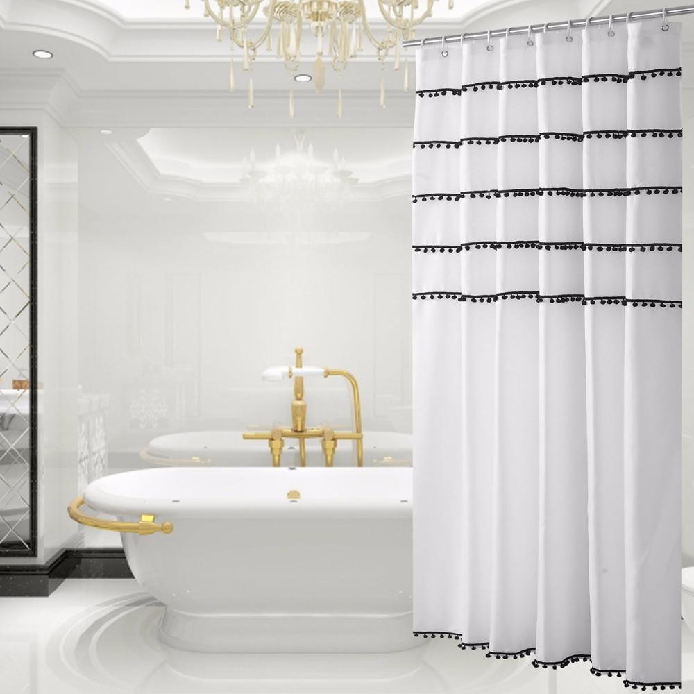 Luxury White Designer Mildew Free Water Repellent Fabric Shower ...