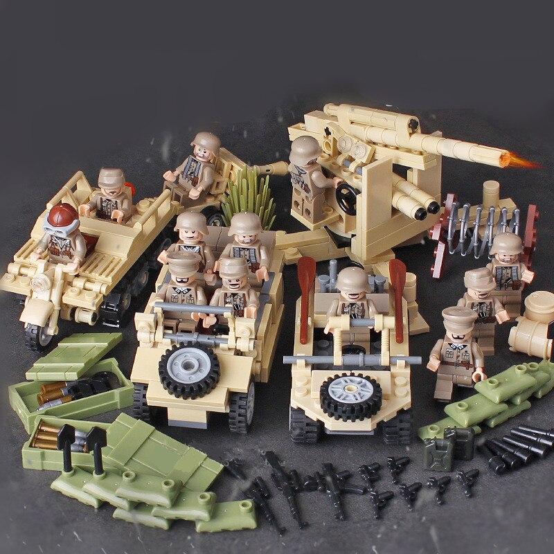 4 in 1 German Army Military World War 2 Waffen SS SWAT Soldier Gun Weapon Building Blocks Bricks Figures Gift Boy Toy Children