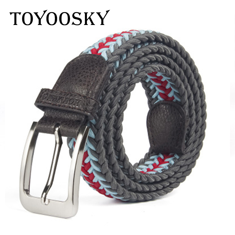 Women Men Belts New Arrival Casual Rectangular Buckle Fish Bone Veins Weave Elastic Canvas Comfortable All Match Belts TOYOOSKY in Men 39 s Belts from Apparel Accessories