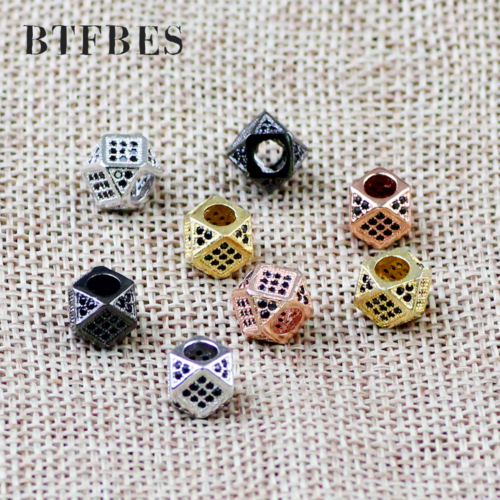 BTFBES 2pcs CZ Copper Coin Spacer beads 8mm flat Round Black zircon Charms metal Loose beads for Jewelry bracelet making DIY in Beads from Jewelry Accessories