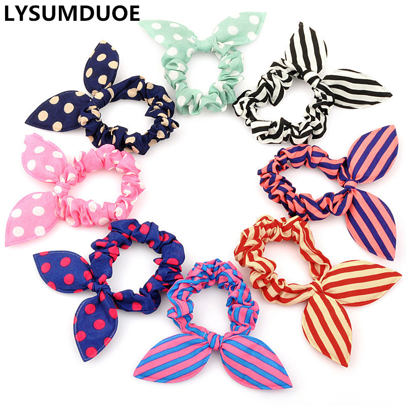 Fashion Elastic Hair Bands 10Pcs Cute Bunny Girl Flower Headbands Rabbit Ears Polka Dot   Headwear   Children Hair Ropes Accessories