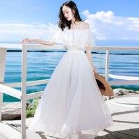 Seaside Holiday Beach Dress Women's One Piece Tube Top Drsss Pure White Tube Top Chiffon Maxi Bohemian Big Swing Summer Dresses