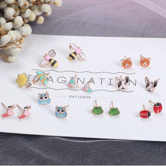 2019 корейские мини животные лягушка собака серьги милые Фламинго зонт-Сова пчела серьги-гвоздики для женщин модные украшения Аксессуары