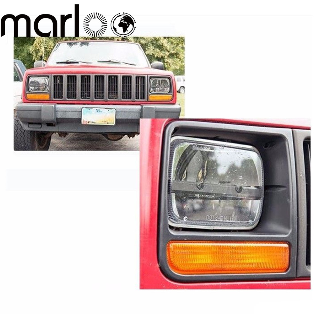 Marloo Pair 7x6 5x7 inch LED Projector Sealed Beam Headlight for Jeep Cherokee XJ Truck 4X4 Offroad Truck Motorcycle 5x7 inch car auto drl led headlamp 5x7 7x6 led truck headlight high low beam square led headlight for jeep cherokee xj truck