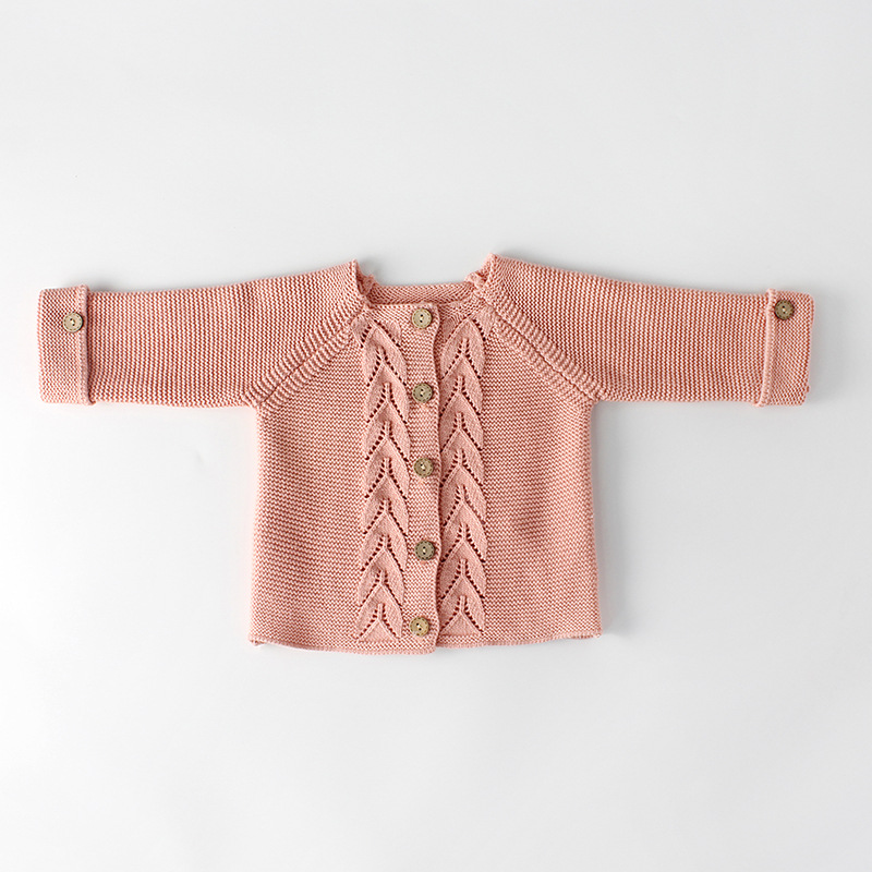 3ce567330 Spring And Autumn Infant Baby Girls Wear A Leaf Knitted Jacket Wool ...