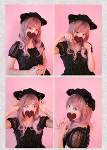 Image 2 - Black Cat Lolita Girls Cat Ears Bows Trim Drawers Beret Hat Halloween Kawaii Cute Woolen Painter Beret Cap 4 Colors