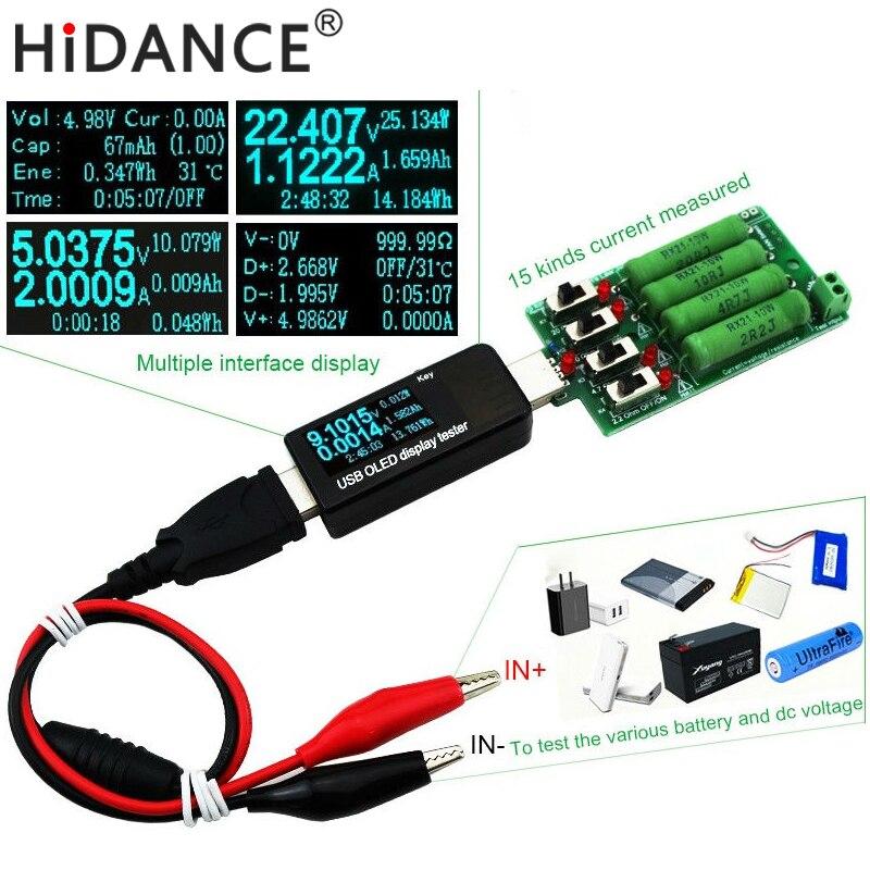 Bateria/usb tester dc voltímetro amperímetro 18650 medidor de capacidade resistência de descarga de carga eletrônica jacaré clipes fio crocodilo