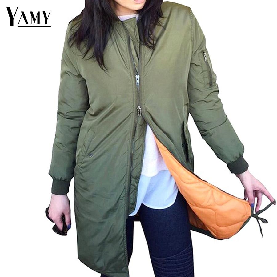 2017 spring army green long bomber jacket women basic coats female jacket womenu0026#39;s windbreaker ...
