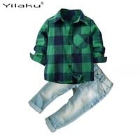 Yilaku boy clothes shirts + jeans pants children clothing set 2pcs full sleeve Plaid shirt toddler boys clothing set CF574