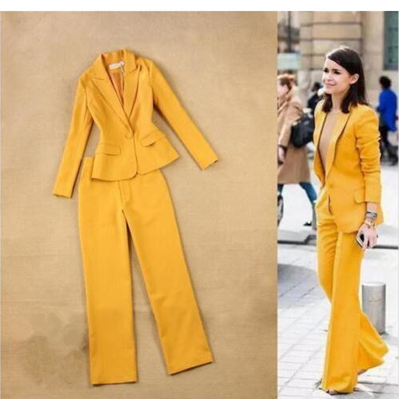 2 Piece Sets Yellow Suits pants Jacket women Office Business Work Wear Office Uniform Styles Slim Ladies Elegant Pant Suits