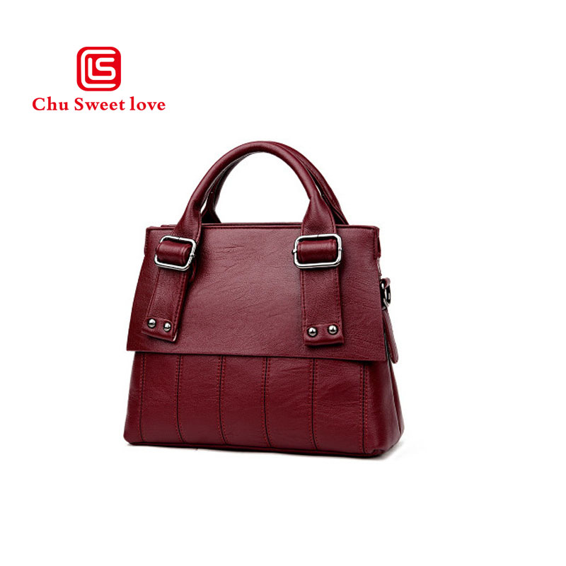 True PU leather handbags Europe and the United States fashion handbag large capacity casual shoulder diagonal package 2018 new 18 years in europe and the united states new custom personality design show small retro unique portable organ leather handbags