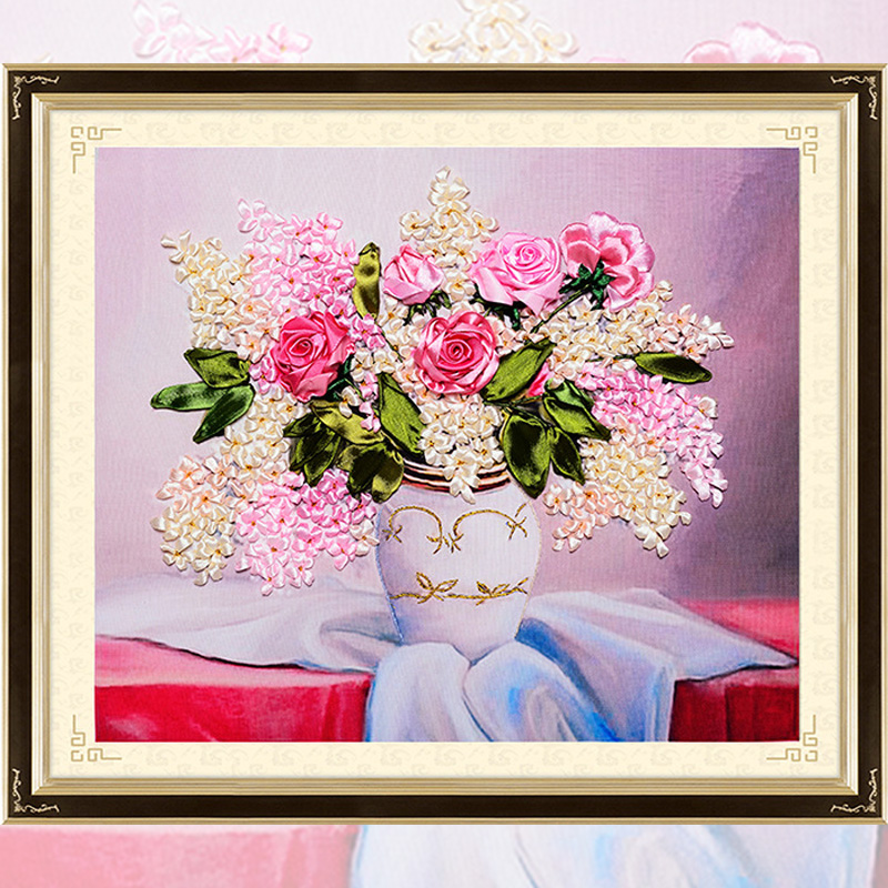 DIY Ribbons Embroidery Flower Vase Rose Picture Decorative Paintings Needlework Crafts Cross Stitch kit living Room Decor C-0280