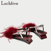 Luchfive Summer Red Fur Patchwork Open Toe Sandals Women Square Toe Feather Slip on Buckle Heterotypic Heel Fashion Sandal Shoes