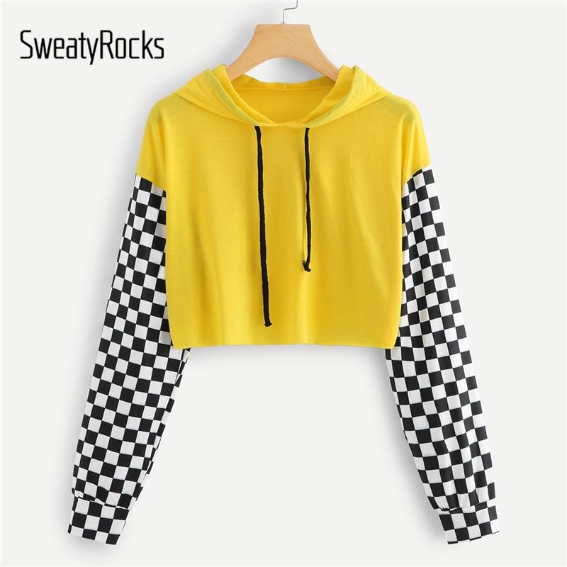 SweatyRocks Yellow Gingham Panel Hoodie Shirt Women Long