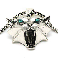 Witcher Cat School Pendant Necklace Inspired Game Wild Monster Hunter Cosplay Green Rhinestone Cat Head Witcher