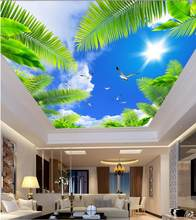 Custom photo wallpaper Zenith ceiling Blue sky palm sun seabirds ceiling Landscape wallpaper murals(China)