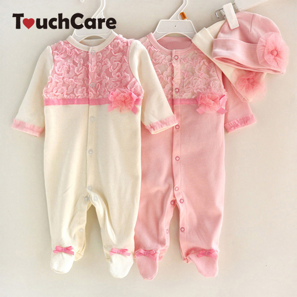 Newborn Cute Floral Cotton Baby Girl Rompers Infant Lace Bow Knot Romper Hat Children Clothes Sets