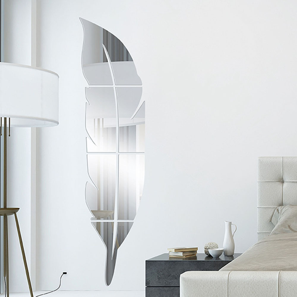 Diy modern feather acrylic mirror wall sticker home decor room aeproducttsubject amipublicfo Image collections