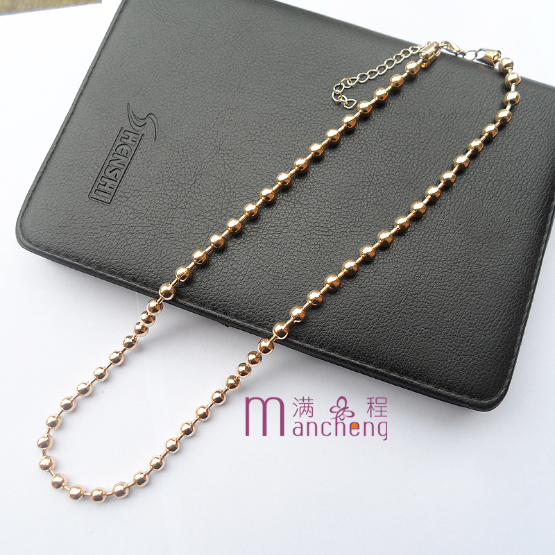 Jewelry factory Wholesale 6MM gold-color metal choker necklace multicolored plastic electro plating mardi gras beads necklace
