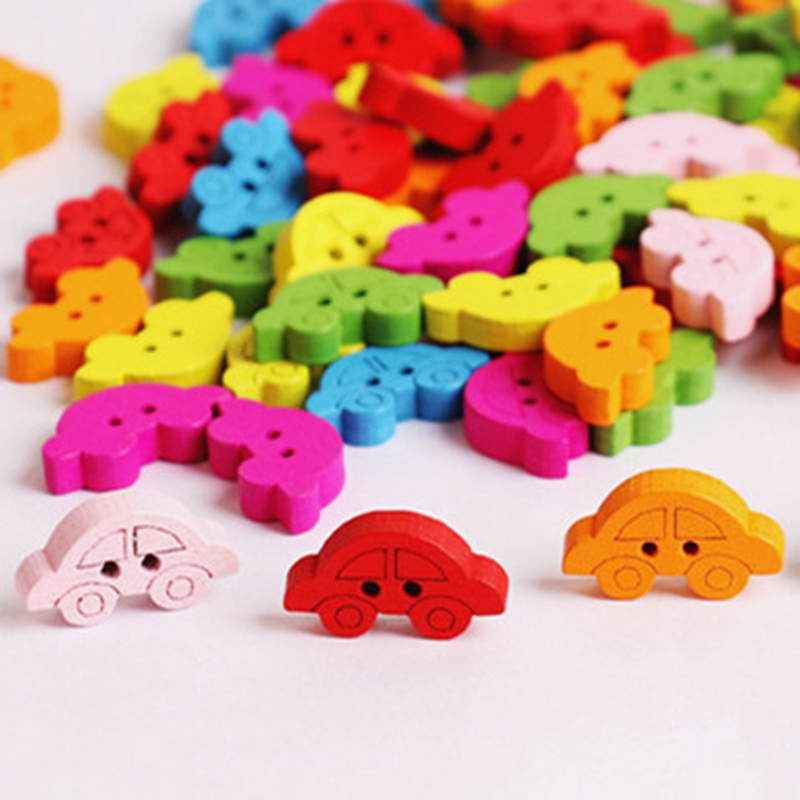 Buttons Cute Things Carving Sewing Wooden Button Car Mix Color 100pcs 20*11mm Children Handmade Diy Christmas Decorative Girls Boys Toys Large Assortment
