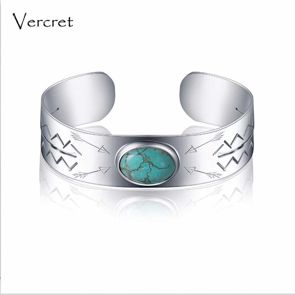 Vercret vintage turquoise bangle handmade 925 sterling silver cuff bracelet fine jewelry for women Valentine's gift delicate double layered faux turquoise floral cuff bracelet for women