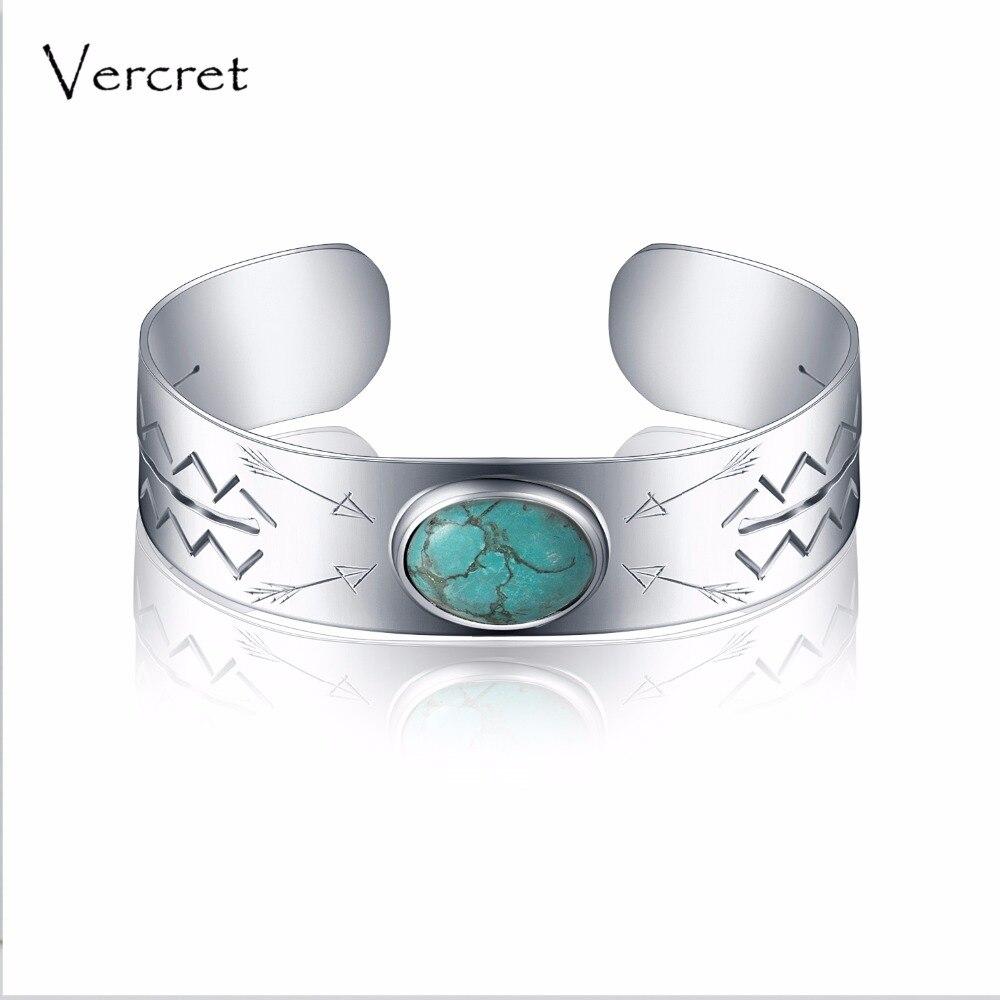 Vercret vintage turquoise bracelet main 925 sterling silver cuff bracelet bijoux pour les femmes cadeau de Saint-Valentin