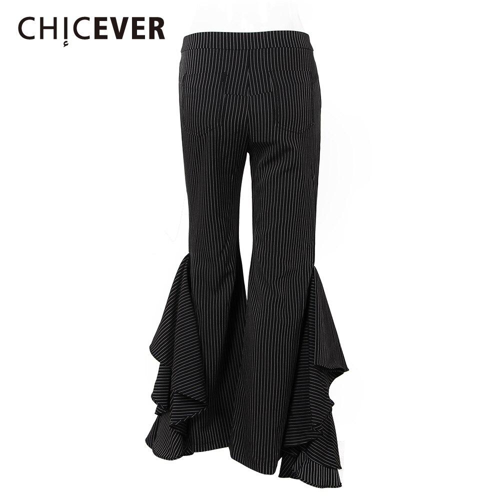Taille Haute Casual Longueur Navy Femmes Flare Chicever Rayé Pantalon Pleine Pantalons D'été Ruches B5x4wqTRx
