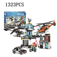 city Lepins city Police station Police helicopter Building Blocks Bricks DIY Toys Model kits gifts for childre