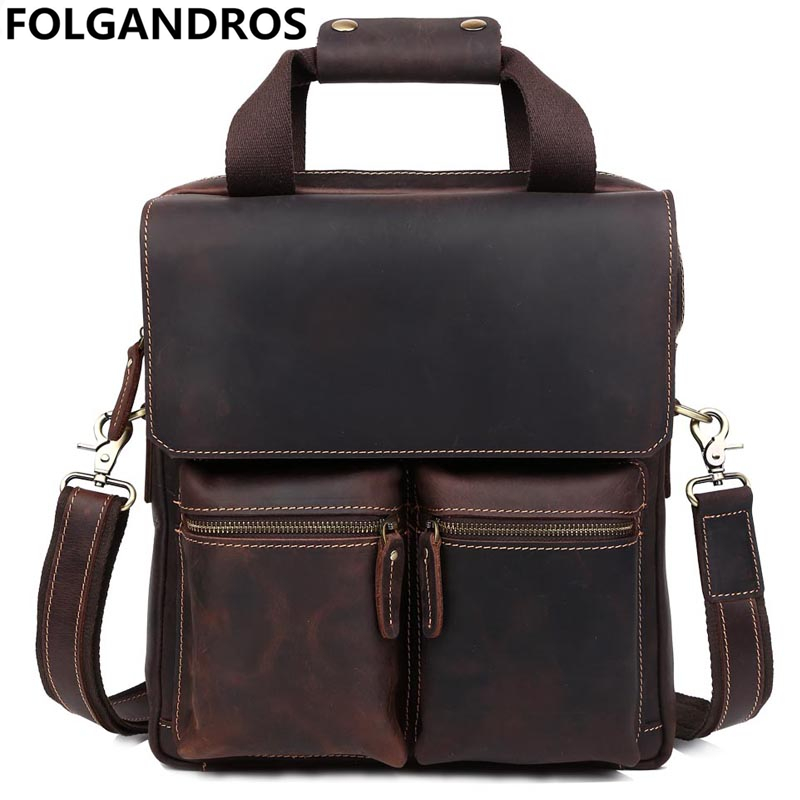 Brand Men Vertical Genuine Leather Briefcases 13 Inch Laptop Tote Bag Fashion Cowhide Handbag Vintage Messenger Crossbody Bag