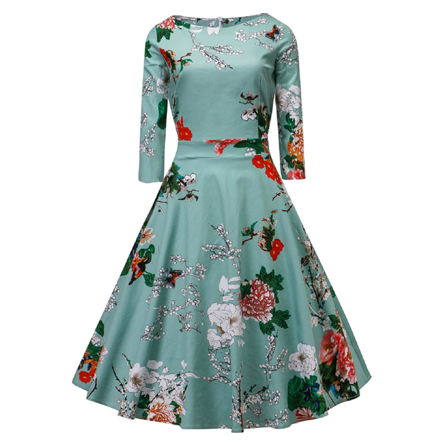 afca919ff9827 US $18.99 30% OFF|Aliexpress.com : Buy Women Audrey hepburn 50s Vintage  Dress 2018 Spring Floral Print Casual Party Swing Dresses Woman Ball Gown  ...