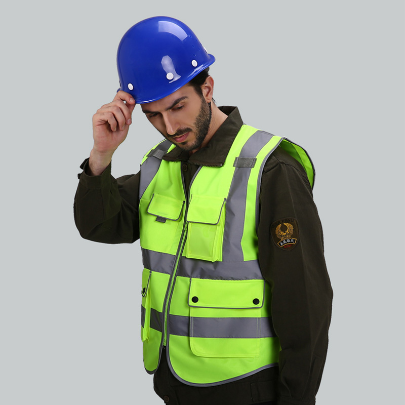 Hi vis yellow Safety vests reflective with pockets workwear reflective waistcoats with reflector stripes New arrival power pro hi vis yellow 92м 0 08mm
