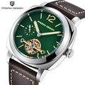 Мужские механические часы PAGANI  дизайнерские автоматические деловые часы с кожаным ремешком