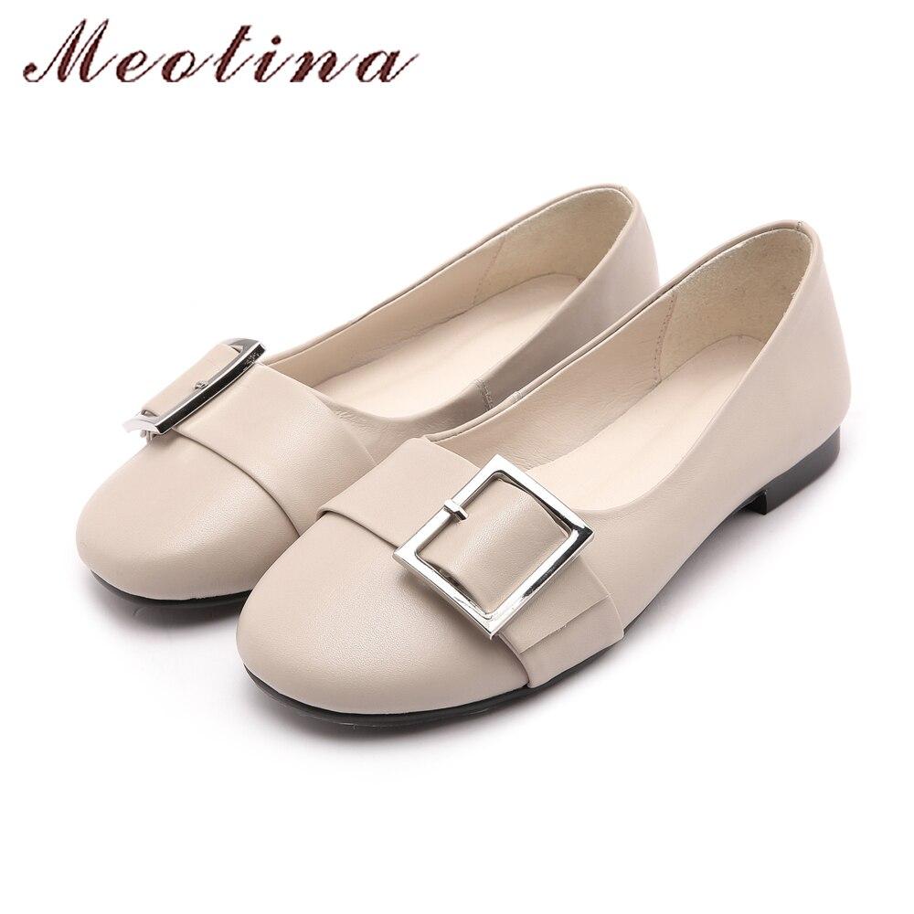 Meotina chaussures en cuir véritable femmes ballerines boucle bateau chaussures mocassins femmes en cuir de vache plat 2018 printemps chaussures noir - 4