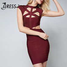 INDRESSME 2018 Women Bandage Dress Sexy Hollow Out Bodycon Club Party Dresses New Fashion Clue Dress Short Sleeve Sheath Dress(China)