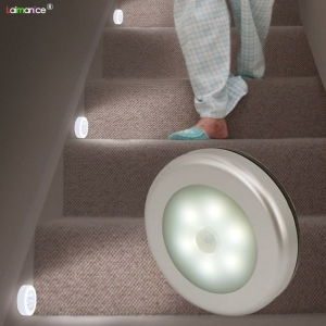 PIR Motion Sensor 6 LED Cabinet Lights Kitchen Bedroom Cupboard Light Wireless Magnetic Corridor Stair Light Night Lamp
