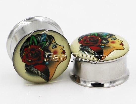 1 pair tattoo gypsy lady double flare plugs steel ear plug tunnel gauges body piercing jewelry