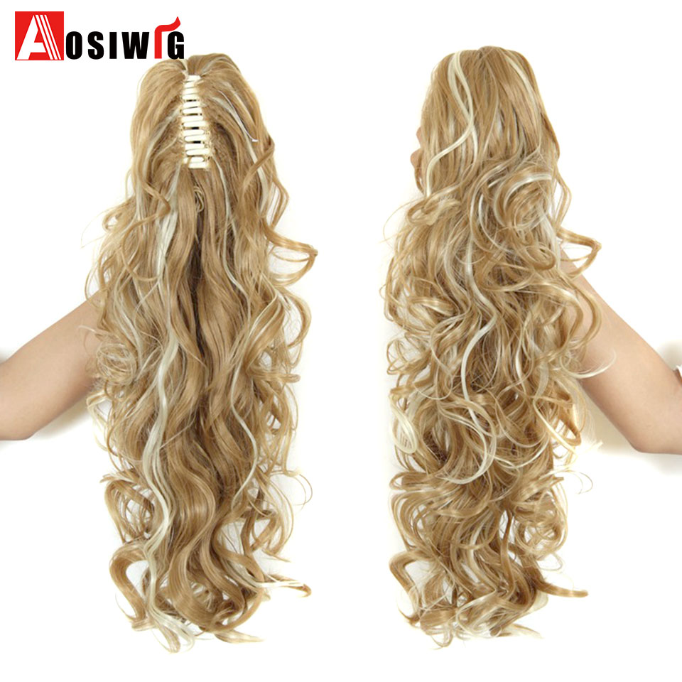 Aosi Wig 24 Inch Long Wavy Ponytail Natural Claw Hair Tail Hairpiece Heat Resistant Synthetic Hair For Women Hairstyles Pure Whiteness