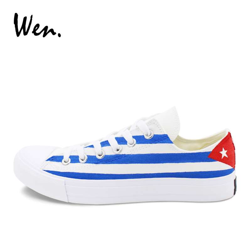 Wen Skateboarding Shoes Canvas Painting Cuba Flag Hand Painted Shoes Low Top Sneakers Men Women Plimsolls Laced Platform Flat men women converse puerto rico flag hand painted artwork high top canvas shoes unique sneakers