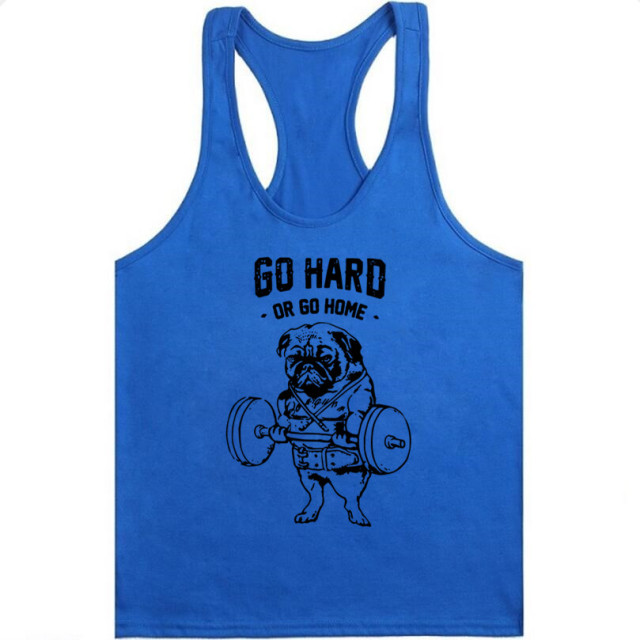 Bulldog Tank Top Men Hip Hop go Hard or go home O-Neck Funny Tank Tops Bodybuilding Casual Summer Vest 2XL Cute Pug T Shirt