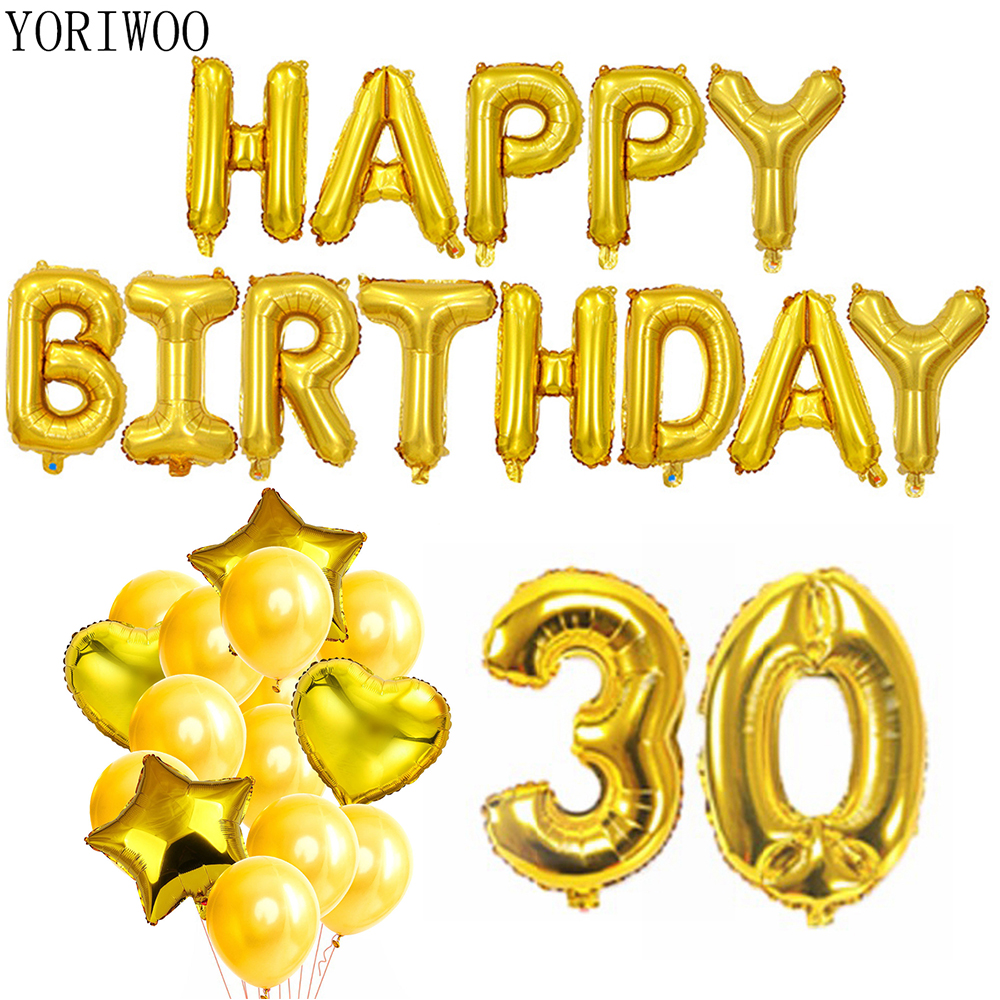 YORIWOO 30th Birthday Balloons Heart Happy Birthday Banner 30 Years Party Decorations Men Women Supplies Photo Booth Props Frame