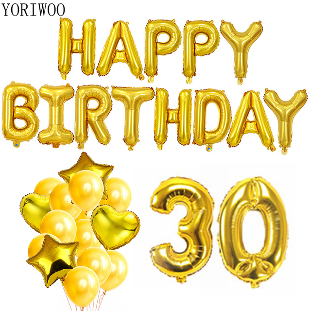 d3d1ddd62e04 YORIWOO 30th Birthday Balloons Heart Happy Birthday Banner 30 Years Party  Decorations Men Women Supplies Photo