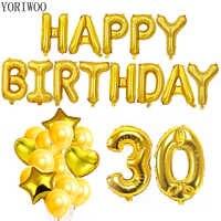 YORIWOO 30th urodziny balony serca wszystkiego najlepszego z okazji urodzin Banner 30 lat dekoracje świąteczne mężczyźni kobiety dostaw Photo Booth rekwizyty rama