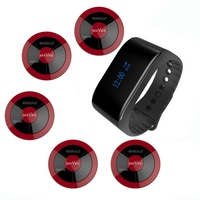SINGCALL wireless waiter call system hotel call bell 1 new waterproof bracelet calling mobile receiver 5 multi key pagers