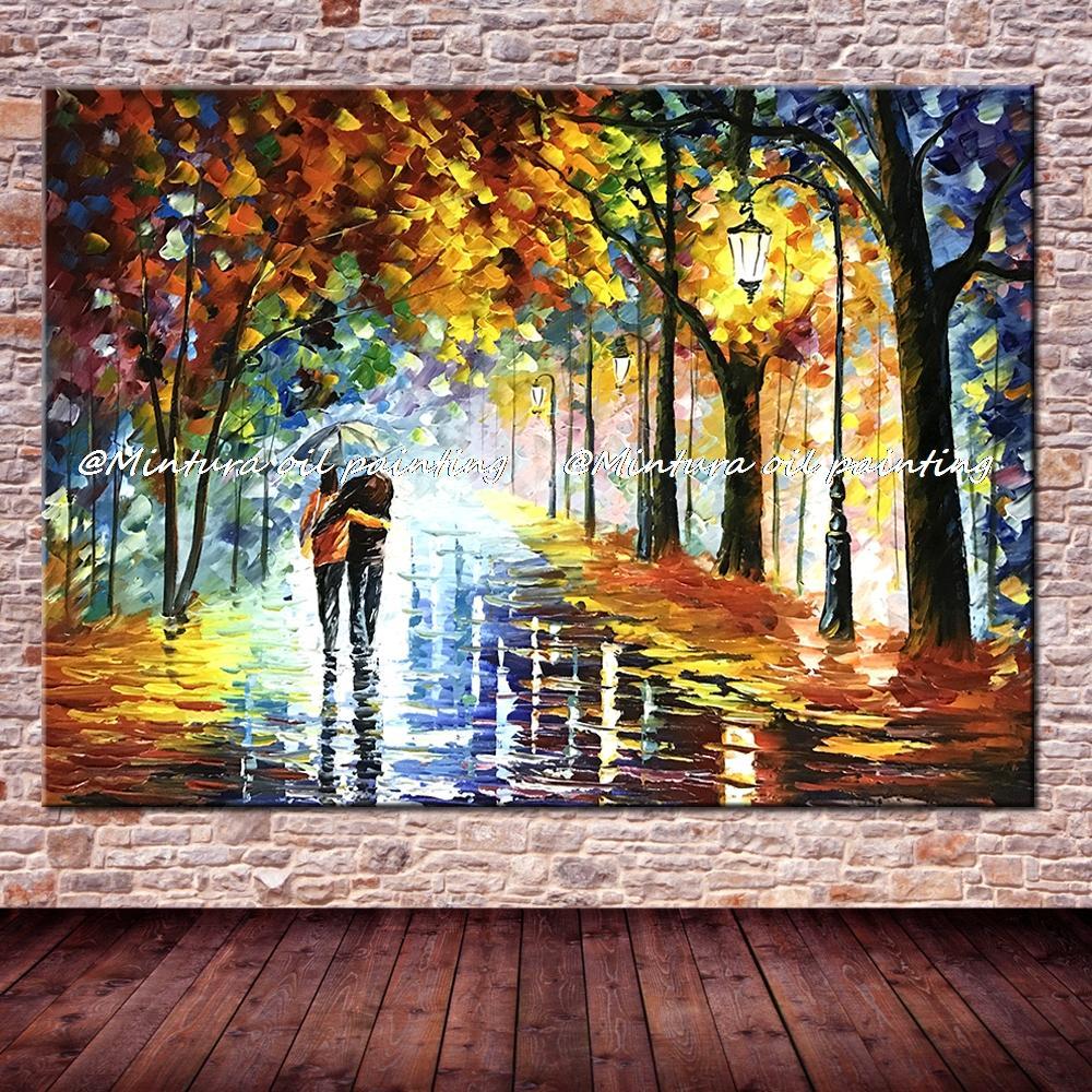 Большой расписанный вручную любовник дождь уличное дерево лампа пейзаж картина маслом на холсте настенные художественные настенные картины для гостиной домашний декор - Цвет: HY142126