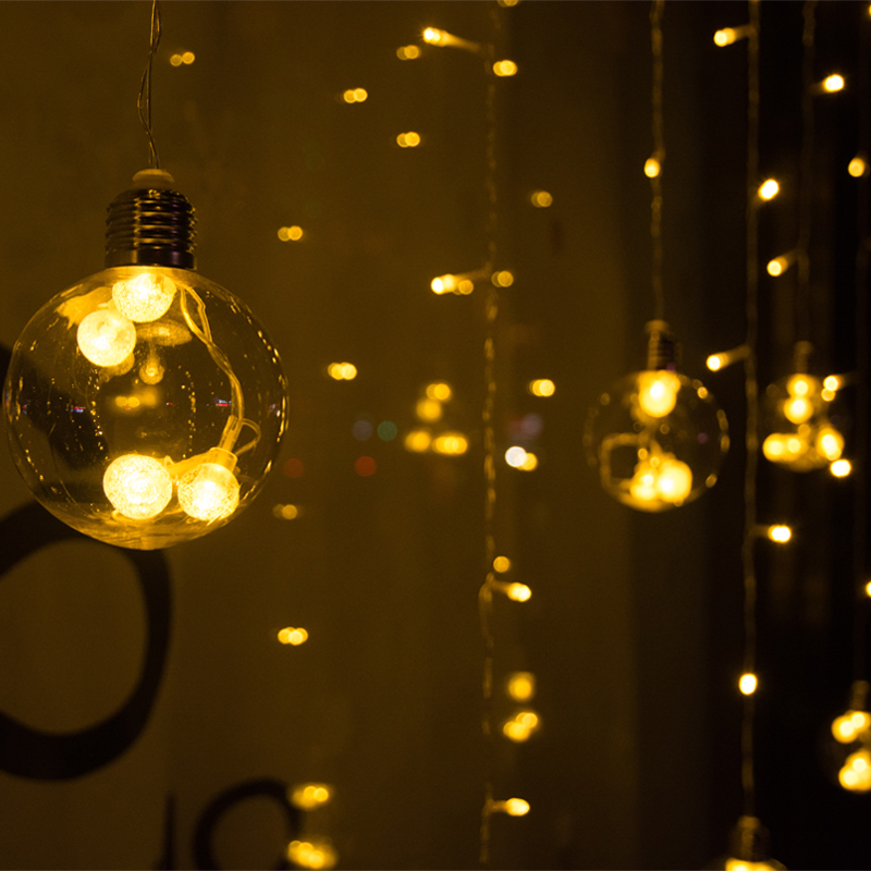 LED Bulb Ball String Curtain Light Remote Control Valentine Christmas Window Wedding Decoration Connectable String Lights 20pcs bulb string light
