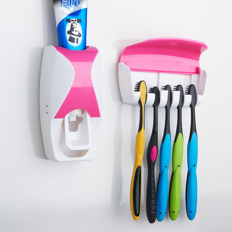 1 Set Creative Automatic Plastic Lazy Toothpaste Dispenser with 5 Toothbrush Holder 2