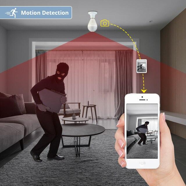 KERUI LED Light 960P Wireless Panoramic Home Security WiFi CCTV Fisheye Bulb Lamp 4